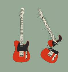 Broken guitar vector