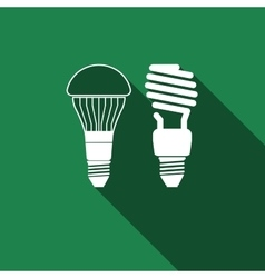 Led bulb and fluorescent light bulb icon vector