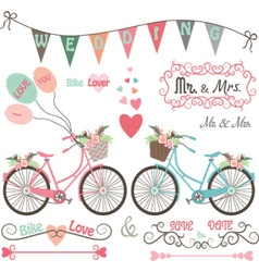 Wedding bike elements vector