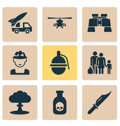 Battle icons set collection of atom cutter vector