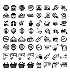 Big shopping icons set vector