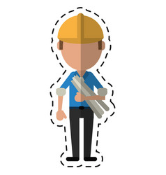 Cartoon man building construction plans helmet vector