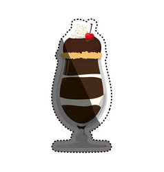 Chocolate milkshake dessert vector