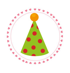 Color circular frame with party hat vector