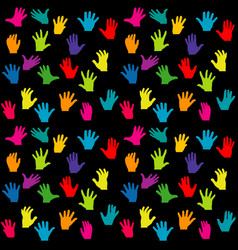 colorful hands on black background vector image vector image