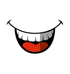 Comic face smiling icon vector