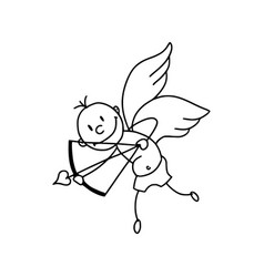 cute cupid in cartoon style icon vector image