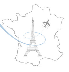 Eiffel tower and map on white vector