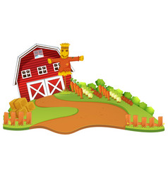 Farm scene with scarecrow and vegetables garden vector