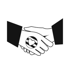 Handshake gay rainbow black simple icon vector