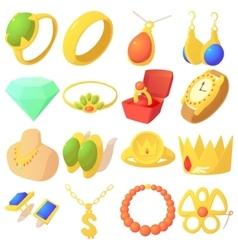 Jewelry items icons set cartoon style vector