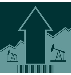Oil pump icon on grow up arrow and bar code vector
