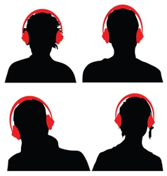 people with headphones black silhouette vector image vector image