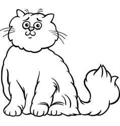 persian cat cartoon coloring page vector image vector image