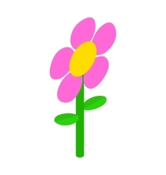 Pink flower icon isometric 3d style vector image