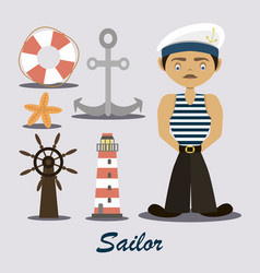 sailor with a lighthouse vector image