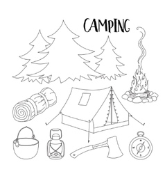 Set of camping equipment symbols vector image vector image