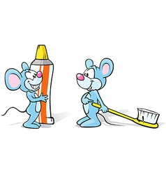 Two mice with toothpaste and toothbrush vector