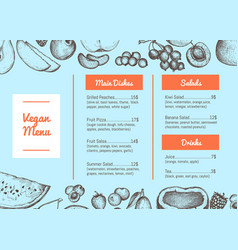 vegan cafe menu hand drawn typographic design vector image