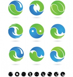 yin yang icons and logos vector image vector image