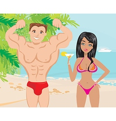 Young couple flirt in a tropical landscape vector