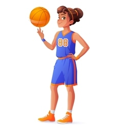 Young pretty basketball player girl vector