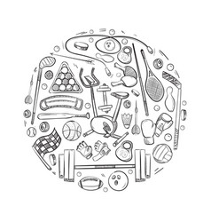 Active sports things doodle icons set vector