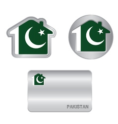 Home icon on the pakistan flag vector