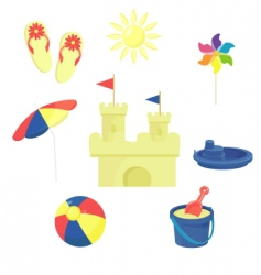 beach toys icons set vector image