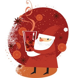 Santa with mulled wine vector
