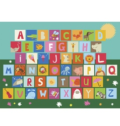 Baby alphabet with animals and hobby tools vector