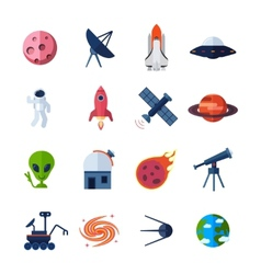 Space icons flat vector