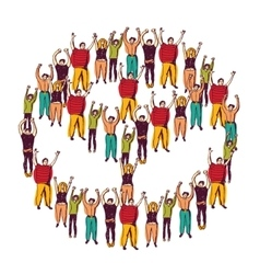 Symbol peace crowd happy vector