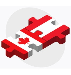 Canada and austria flags in puzzle vector