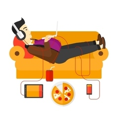 Man with gadgets lying on sofa vector
