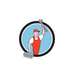 Mechanic wrench toolbox circle cartoon vector