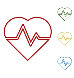 Heartbeat sign set of line icons vector