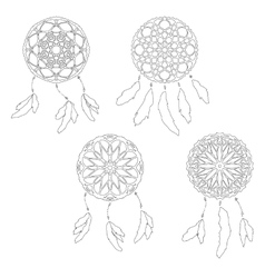 Set of zentangle style dreamcatchers ethnic vector
