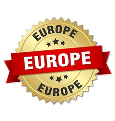Europe round golden badge with red ribbon vector
