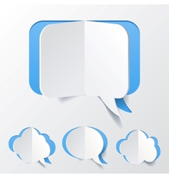 Abstract Blue Speech Bubble Set Cut of Paper vector image