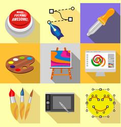 Art school icons set flat style vector