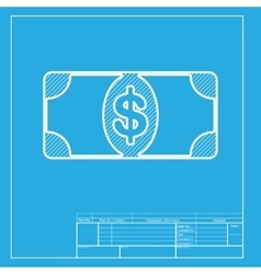Bank note dollar sign white section of icon on vector