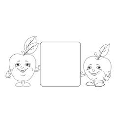 Character apples and poster outline vector image vector image