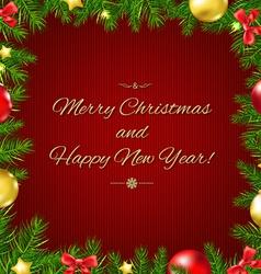Christmas fir tree border card vector