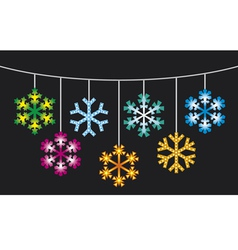 Collection of snowflakes with lights vector
