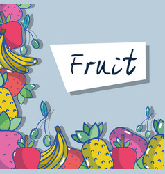 Delicious and fresh fruit food background design vector
