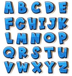 english alphabets in blue blocks vector image