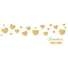 Golden hearts frame seamless border vector