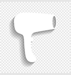 hair dryer sign white icon with soft vector image