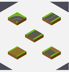 Isometric way set of footpath unfinished bitumen vector